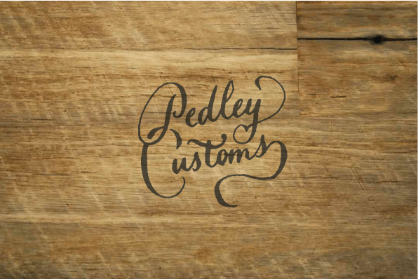 Pedley Customs, brand identity design. Custom hand drawn logo.